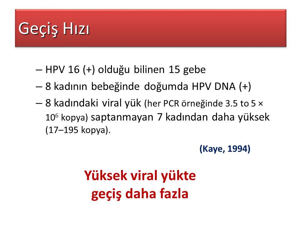 Geçiş Hızı – HPV 16 (+) olduğu bilinen 15 gebe – 8 kadının bebeğinde doğumda HPV DNA (+) – 8 kadındaki viral yük (her PCR örneğinde 3.5 to 5 × 10 6 ko