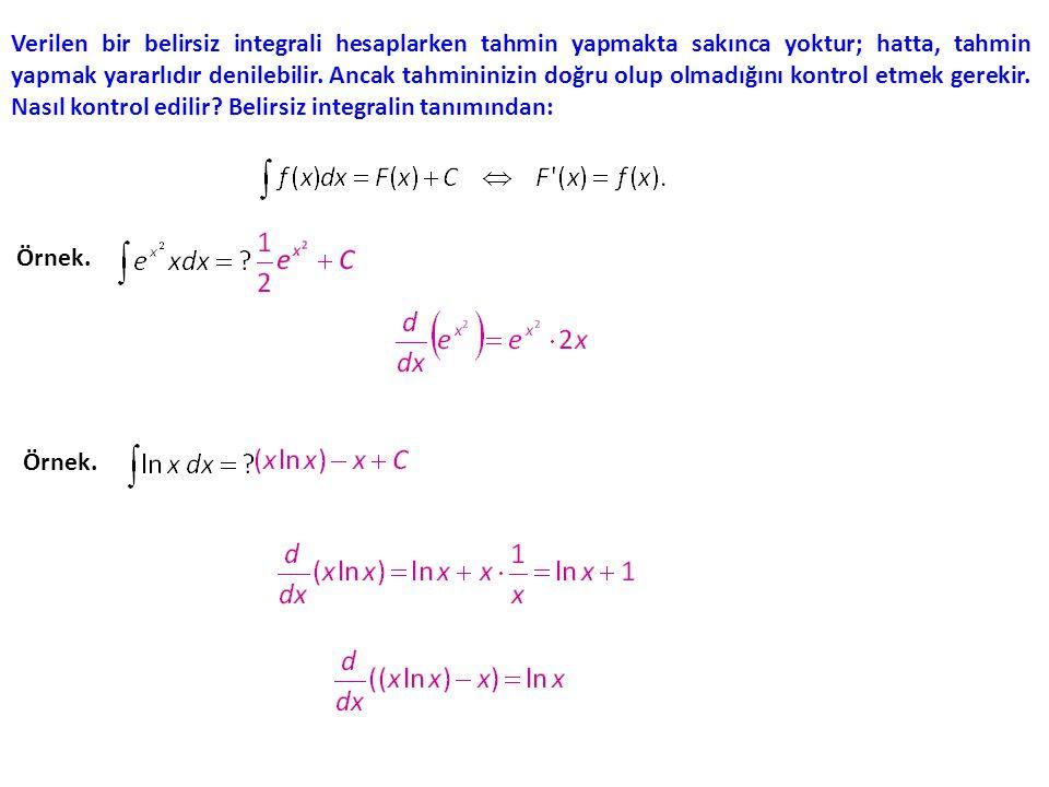 Verilen bir belirsiz integrali hesaplarken tahmin yapmakta sakınca yoktur; hatta, tahmin yapmak yararlıdır denilebilir.