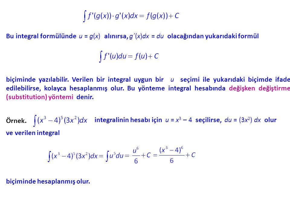 Bu integral formülünde u = g(x) alınırsa, g´(x)dx = du olacağından yukarıdaki formül biçiminde yazılabilir. Verilen bir integral uygun bir u seçimi il