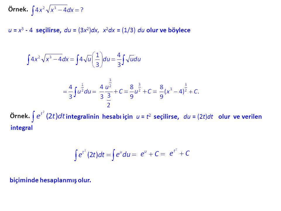Örnek. u = x3 x3 - 4 seçilirse, du = (3x 2 )dx, x 2 dx = (1/3) du olur ve böylece Örnek. integralinin hesabı için u = t2 t2 seçilirse, du = (2t)dt olu