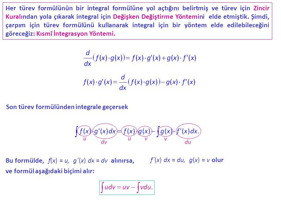 Her türev formülünün bir integral formülüne yol açtığını belirtmiş ve türev için Zincir Kuralından yola çıkarak integral için Değişken Değiştirme Yöntemini elde etmiştik.