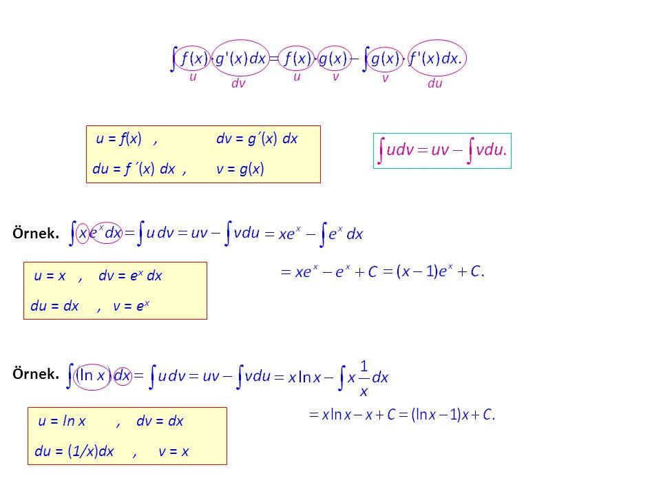 u dv uvv dudu u = f(x)f(x), = g´(x) g´(x) dx du = f ´(x) ´(x) dx,v = g(x)g(x) Örnek. u = x, dv = ex ex dx du = dx,v = exex Örnek. u = ln x, dv = dx du