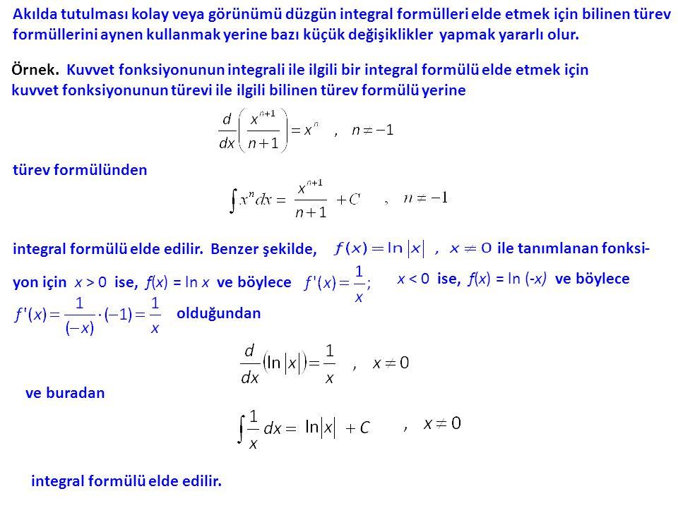 Şimdi bazı integral formüllerini elde edildikleri türev formülleri ile birlikte eşağıdaki tabloda sunuyoruz.