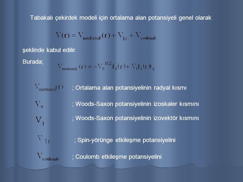 Ortalama alan potansiyelinin radyal kısımı için en doğru potansiyel Woods-Saxon potansiyelidir ve izoskaler kısmı aşağıdaki gibi verilir:
