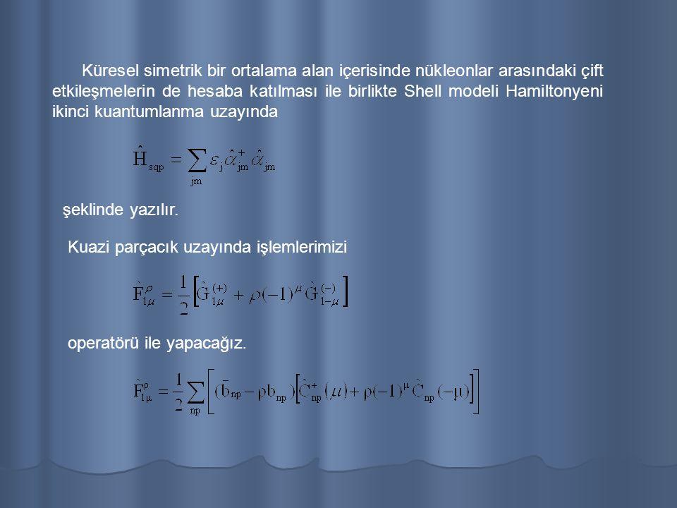 Küresel simetrik bir ortalama alan içerisinde nükleonlar arasındaki çift etkileşmelerin de hesaba katılması ile birlikte Shell modeli Hamiltonyeni ikinci kuantumlanma uzayında şeklinde yazılır.