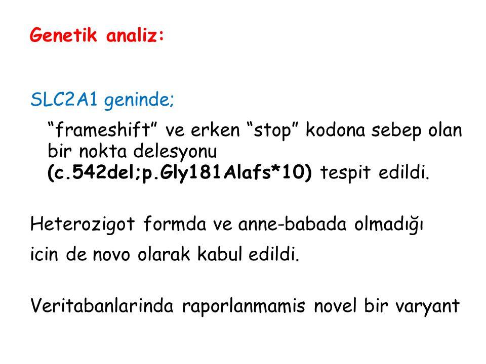 """Genetik analiz: SLC2A1 geninde; """"frameshift"""" ve erken """"stop"""" kodona sebep olan bir nokta delesyonu (c.542del;p.Gly181Alafs*10) tespit edildi. Heterozi"""
