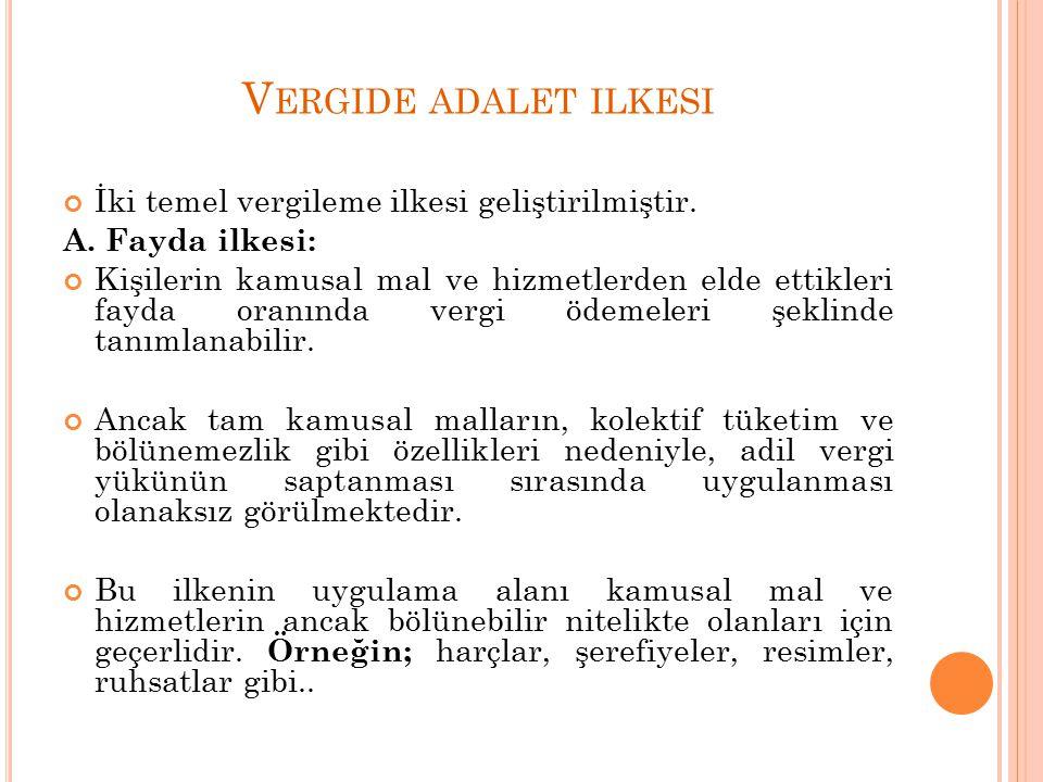 V ERGIDE ADALET ILKESI İki temel vergileme ilkesi geliştirilmiştir.