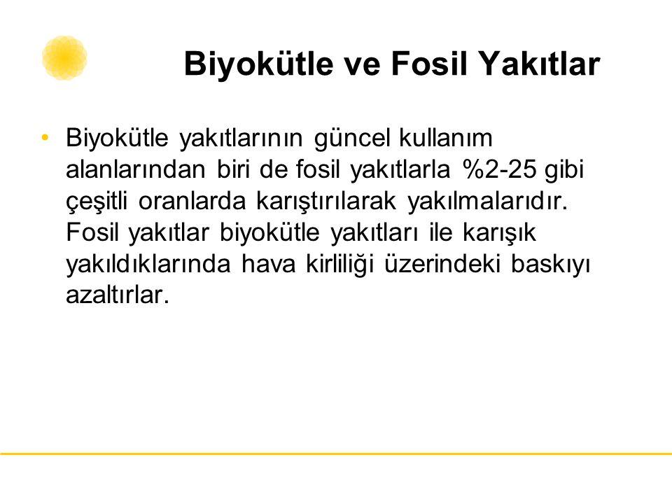 Biyokütle ve Fosil Yakıtlar Biyokütle yakıtlarının güncel kullanım alanlarından biri de fosil yakıtlarla %2-25 gibi çeşitli oranlarda karıştırılarak y