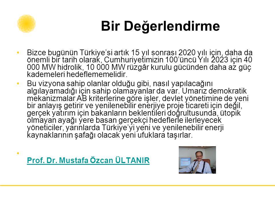 Bir Değerlendirme Bizce bugünün Türkiye'si artık 15 yıl sonrası 2020 yılı için, daha da önemli bir tarih olarak, Cumhuriyetimizin 100'üncü Yılı 2023 i