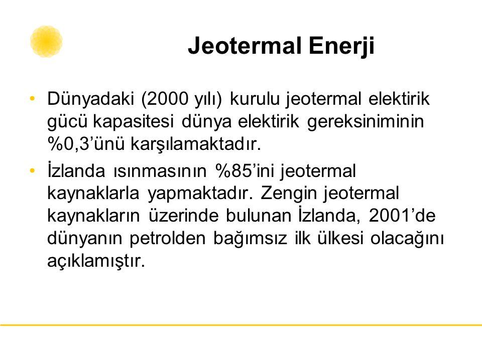 Jeotermal Enerji Dünyadaki (2000 yılı) kurulu jeotermal elektirik gücü kapasitesi dünya elektirik gereksiniminin %0,3'ünü karşılamaktadır. İzlanda ısı