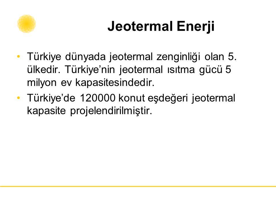 Jeotermal Enerji Türkiye dünyada jeotermal zenginliği olan 5. ülkedir. Türkiye'nin jeotermal ısıtma gücü 5 milyon ev kapasitesindedir. Türkiye'de 1200