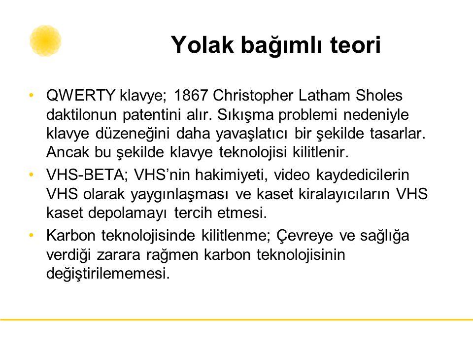 Yolak bağımlı teori QWERTY klavye; 1867 Christopher Latham Sholes daktilonun patentini alır. Sıkışma problemi nedeniyle klavye düzeneğini daha yavaşla