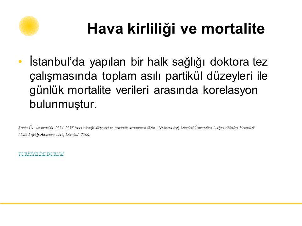 Hava kirliliği ve mortalite İstanbul'da yapılan bir halk sağlığı doktora tez çalışmasında toplam asılı partikül düzeyleri ile günlük mortalite veriler