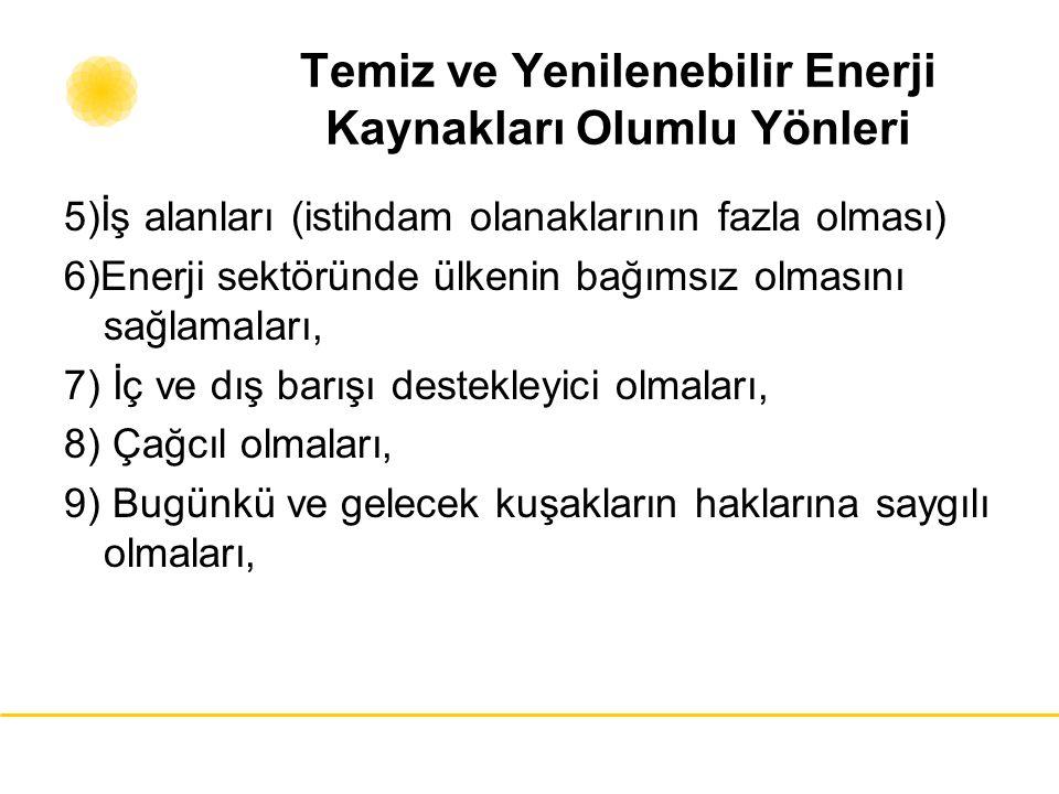 Temiz ve Yenilenebilir Enerji Kaynakları Olumlu Yönleri 5)İş alanları (istihdam olanaklarının fazla olması) 6)Enerji sektöründe ülkenin bağımsız olmas