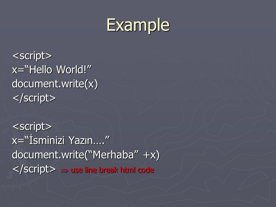 Example <script> x= Hello World! document.write(x)</script><script> x= İsminizi Yazın…. document.write( Merhaba +x)  use line break html code  use line break html code