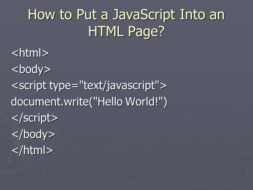 How to Put a JavaScript Into an HTML Page.