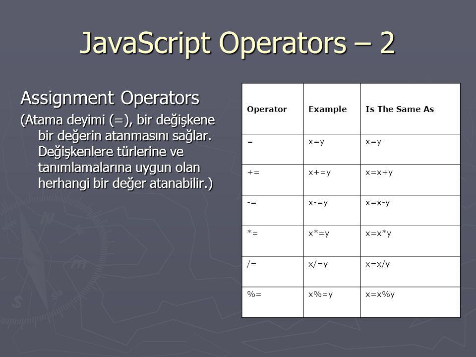 JavaScript Operators - 3 Comparison Operators (Karşılaştırma işleci, iki ya da daha çok değeri birbiriyle karşılaştırarak True ya da False olarak mantıksal bir değer döndürür.) OperatorDescriptionExample ==is equal to5==8 returns false ===is equal to (checks for both value and type) x=5 y= 5 x==y returns true x===y returns false !=is not equal5!=8 returns true >is greater than5>8 returns false <is less than5<8 returns true >=is greater than or equal to 5>=8 returns false <=is less than or equal to5<=8 returns true