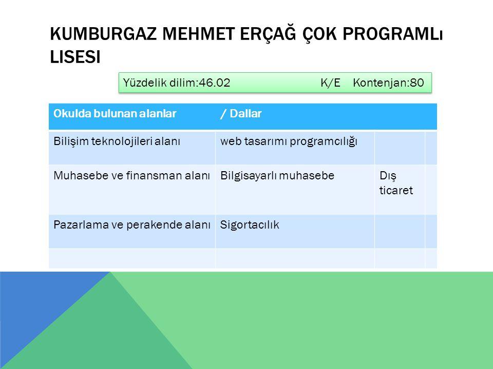 KUMBURGAZ MEHMET ERÇAĞ ÇOK PROGRAMLı LISESI Okulda bulunan alanlar / Dallar Bilişim teknolojileri alanıweb tasarımı programcılığı Muhasebe ve finansma