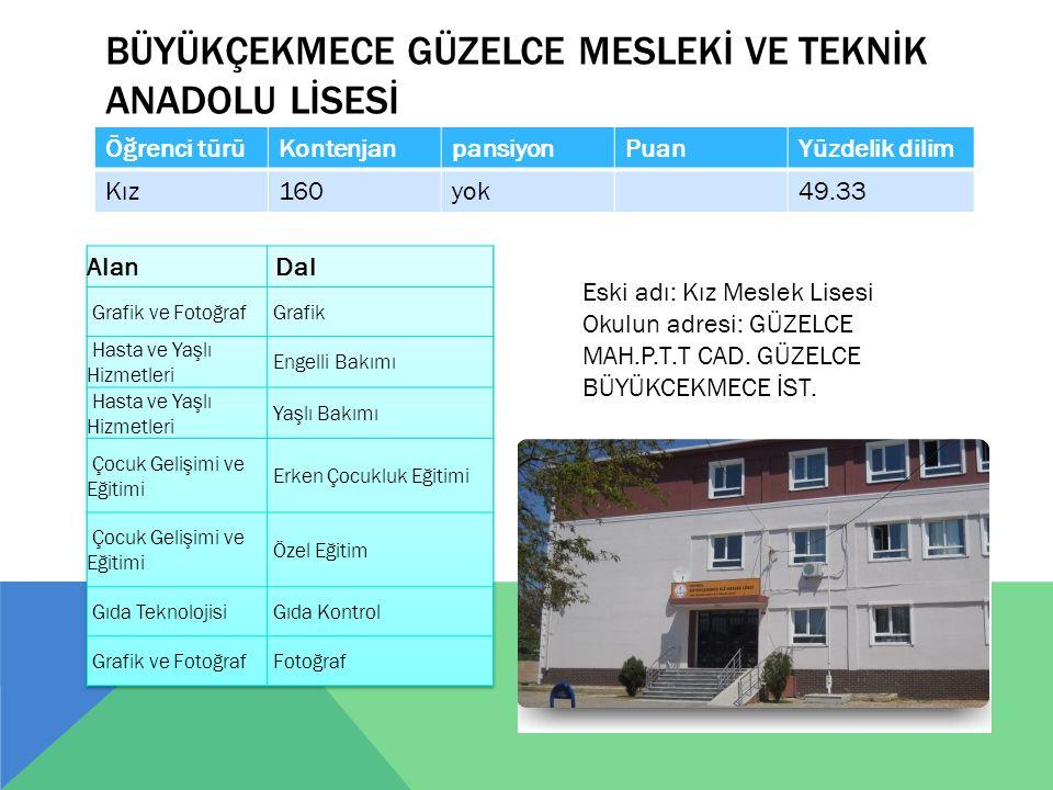 BÜYÜKÇEKMECE MESLEKİ VE TEKNİK ANADOLU LİSESİ Öğrenci türüKontenjanPansiyonPuanYüzdelik dilim K/E240yok61.60 Adres : Cumhuriyet cd.