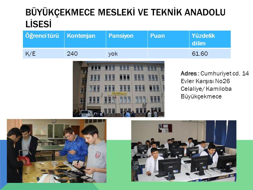 BÜYÜKÇEKMECE MESLEKİ VE TEKNİK ANADOLU LİSESİ Öğrenci türüKontenjanPansiyonPuanYüzdelik dilim K/E240yok61.60 Adres : Cumhuriyet cd. 14 Evler Karşısı N