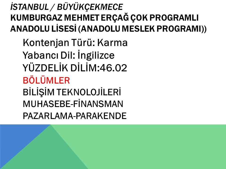 İSTANBUL / BÜYÜKÇEKMECE KUMBURGAZ MEHMET ERÇAĞ ÇOK PROGRAMLI ANADOLU LİSESİ (ANADOLU MESLEK PROGRAMI)) Kontenjan Türü: Karma Yabancı Dil: İngilizce YÜ
