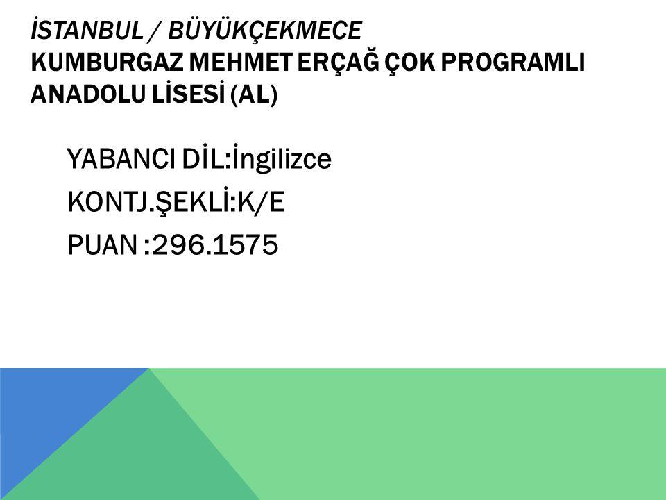 İSTANBUL / BÜYÜKÇEKMECE KUMBURGAZ MEHMET ERÇAĞ ÇOK PROGRAMLI ANADOLU LİSESİ (AL) YABANCI DİL:İngilizce KONTJ.ŞEKLİ:K/E PUAN :296.1575