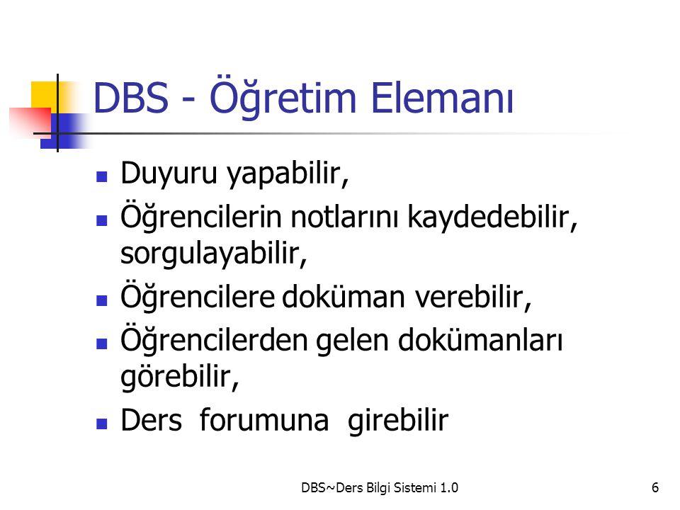 DBS~Ders Bilgi Sistemi 1.07 DBS - Öğrenci Duyuruları görebilir, Öğrenci bazında not sorgulaması yapabilir, Öğretim elemanından gelen dokümanları görebilir, kaydedebilir, Öğretim elemanına doküman gönderebilir, Ders forumuna girebilir,