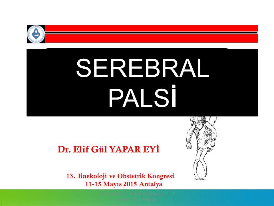 13. Jinekoloji ve Obstetrik Kongresi 11-15 Mayıs 2015 Antalya SEREBRAL PALSİ Dr. Elif Gül YAPAR EY İ 13. Jinekoloji ve Obstetrik Kongresi 11-15 Mayıs