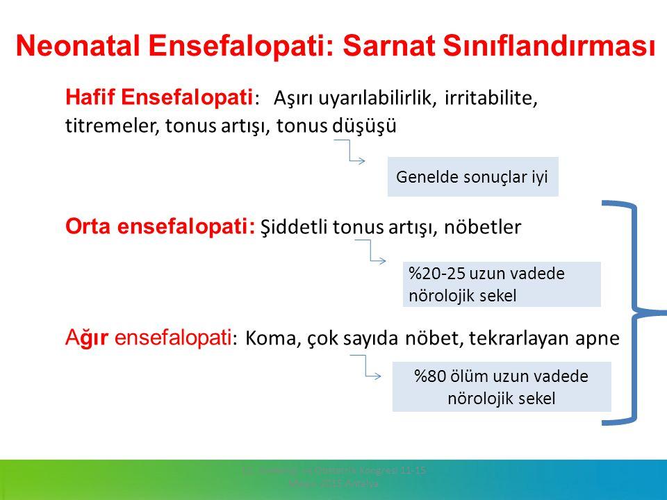 Neonatal Ensefalopati: Sarnat Sınıflandırması Hafif Ensefalopati : Aşırı uyarılabilirlik, irritabilite, titremeler, tonus artışı, tonus düşüşü Orta en