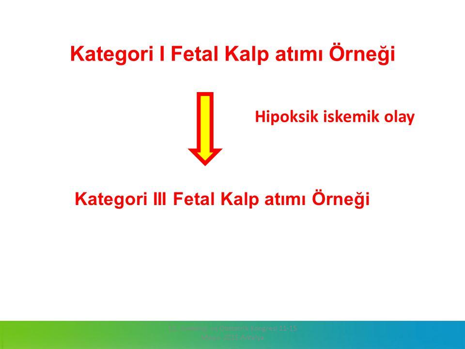 Kategori I Fetal Kalp atımı Örneği Kategori III Fetal Kalp atımı Örneği 13. Jinekoloji ve Obstetrik Kongresi 11-15 Mayıs 2015 Antalya Hipoksik iskemik