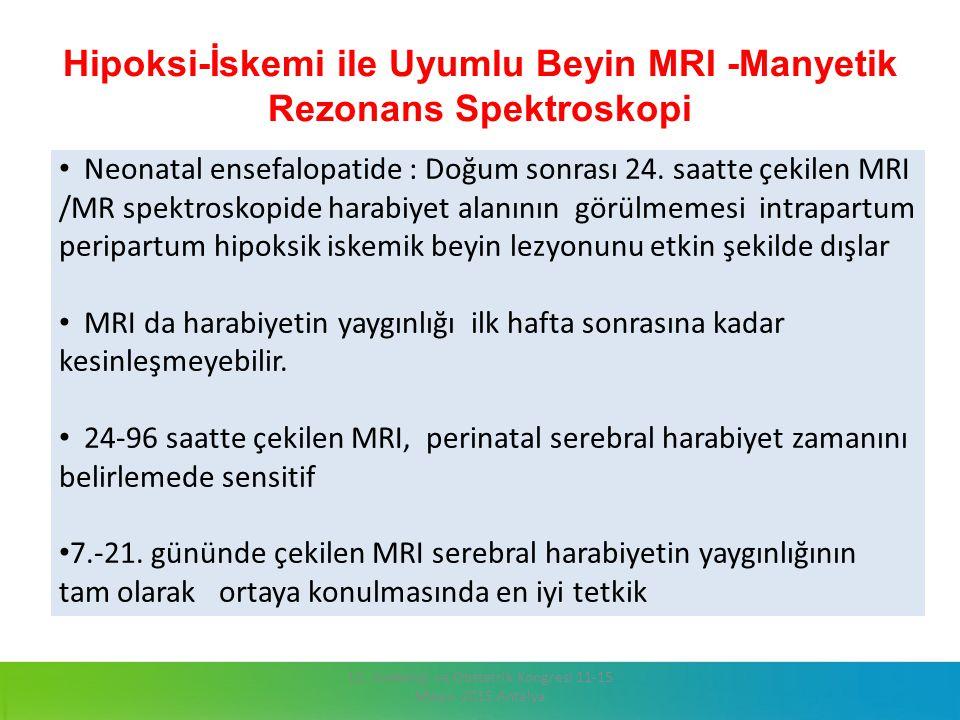 Hipoksi-İskemi ile Uyumlu Beyin MRI -Manyetik Rezonans Spektroskopi 13. Jinekoloji ve Obstetrik Kongresi 11-15 Mayıs 2015 Antalya Neonatal ensefalopat