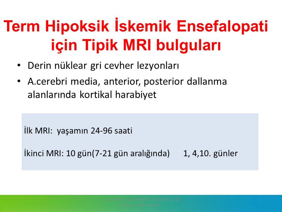 Term Hipoksik İskemik Ensefalopati için Tipik MRI bulguları Derin nüklear gri cevher lezyonları A.cerebri media, anterior, posterior dallanma alanları