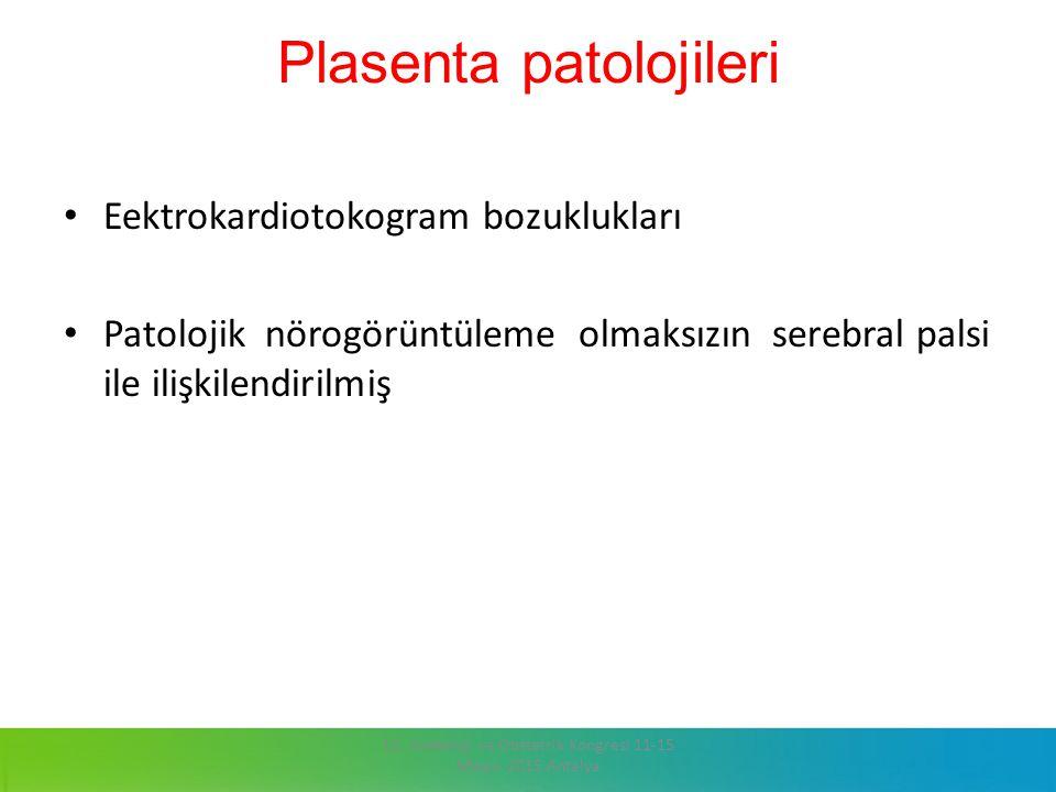 Plasenta patolojileri Eektrokardiotokogram bozuklukları Patolojik nörogörüntüleme olmaksızın serebral palsi ile ilişkilendirilmiş 13. Jinekoloji ve Ob