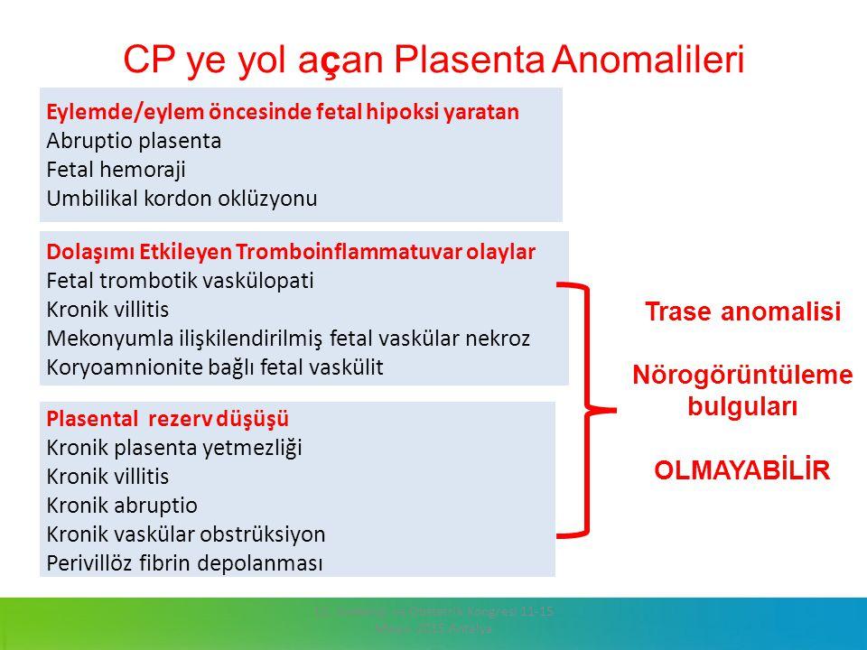 CP ye yol açan Plasenta Anomalileri 13. Jinekoloji ve Obstetrik Kongresi 11-15 Mayıs 2015 Antalya Eylemde/eylem öncesinde fetal hipoksi yaratan Abrupt