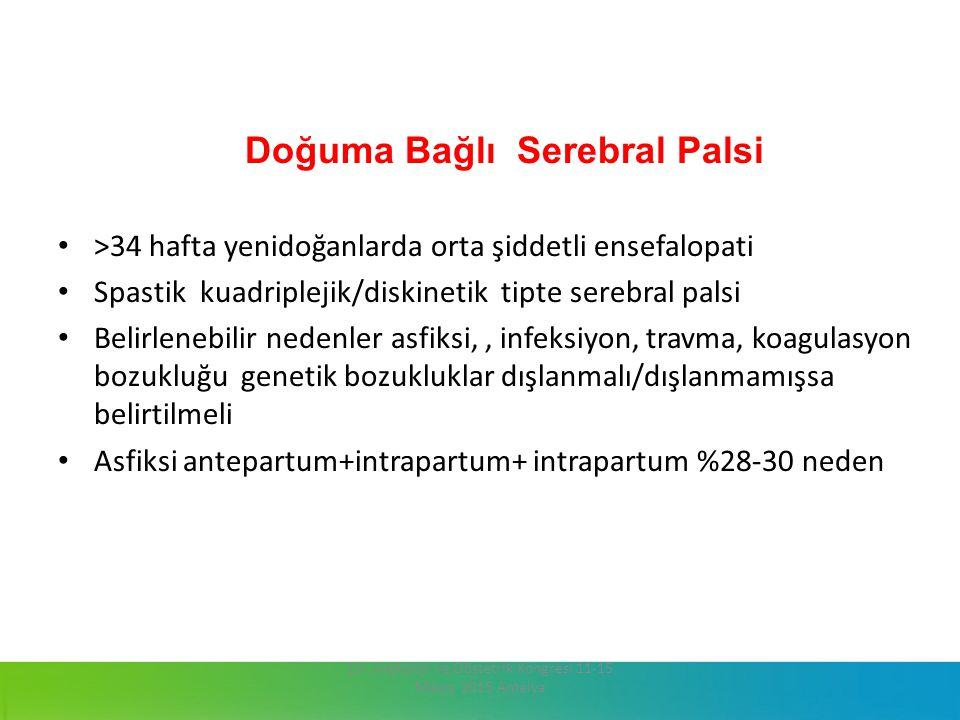 Doğuma Bağlı Serebral Palsi >34 hafta yenidoğanlarda orta şiddetli ensefalopati Spastik kuadriplejik/diskinetik tipte serebral palsi Belirlenebilir ne