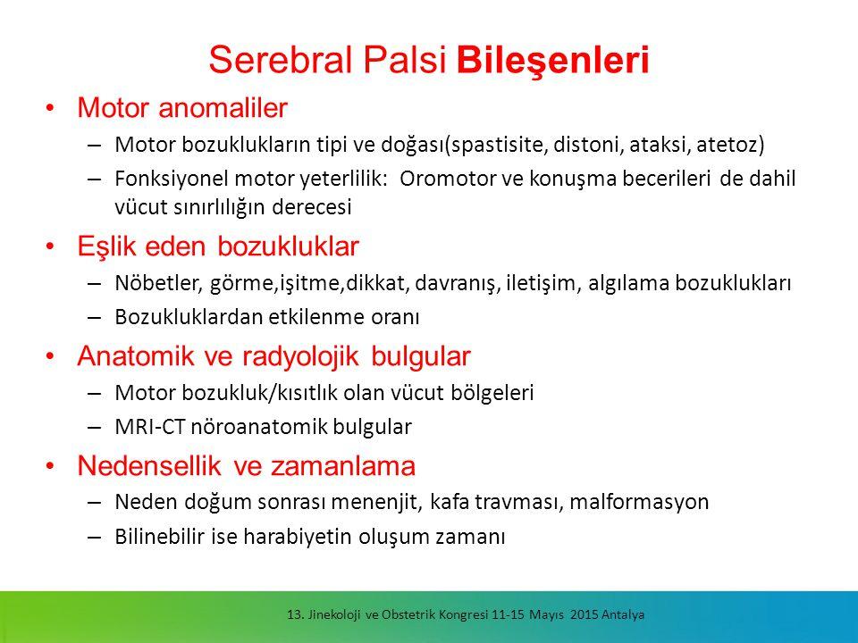 Serebral Palsi Bileşenleri Motor anomaliler – Motor bozuklukların tipi ve doğası(spastisite, distoni, ataksi, atetoz) – Fonksiyonel motor yeterlilik: