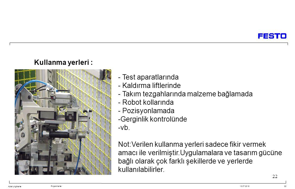 Abteilung/Name Projektname13.07.201522 Kullanma yerleri : - Test aparatlarında - Kaldırma liftlerinde - Takım tezgahlarında malzeme bağlamada - Robot kollarında - Pozisyonlamada -Gerginlik kontrolünde -vb.