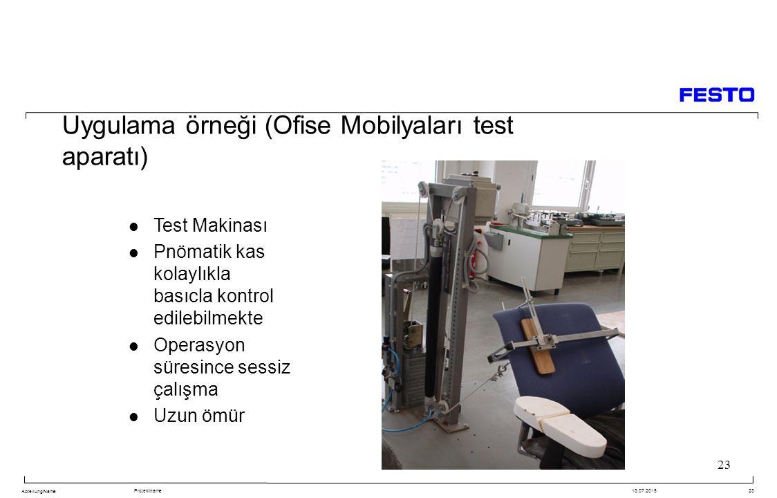 Abteilung/Name Projektname13.07.201523 Uygulama örneği (Ofise Mobilyaları test aparatı) Test Makinası Pnömatik kas kolaylıkla basıcla kontrol edilebilmekte Operasyon süresince sessiz çalışma Uzun ömür