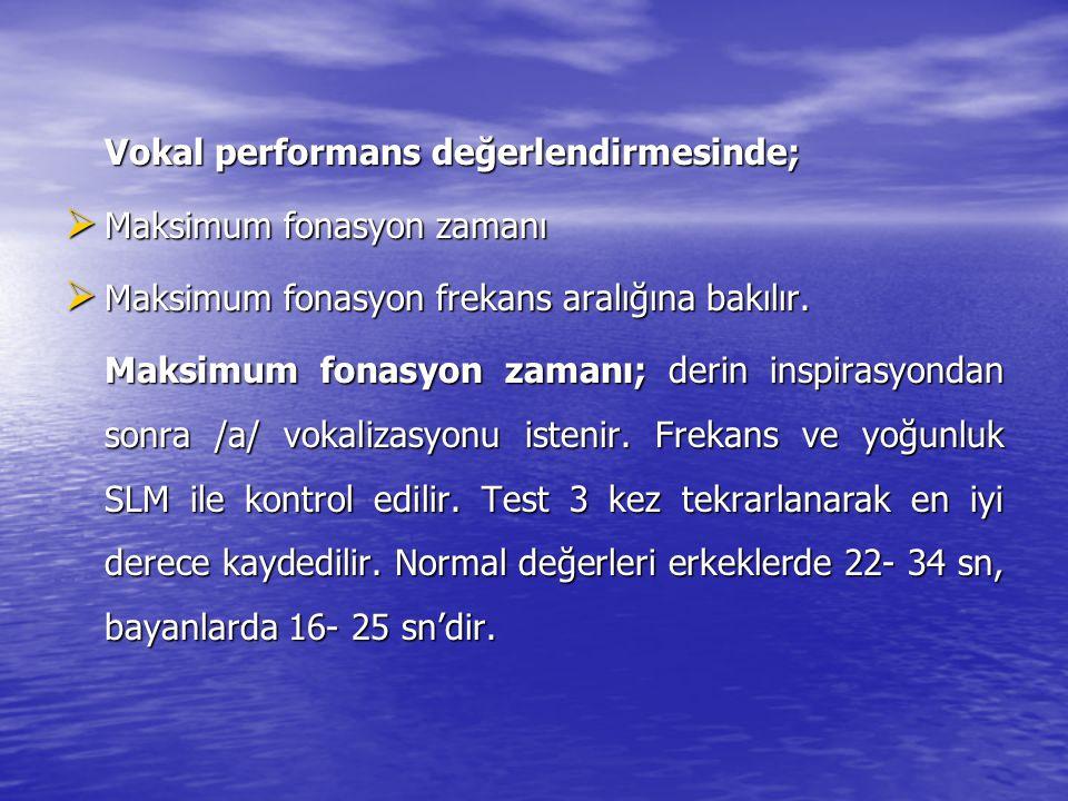 Aerodinamik değerlendirmeyi sağlayan başka bir test ise s/z oranı'dır. Kişi s ve z seslendirmesi yaparken saniye tutulur ve birbirine oranlanır. Norma