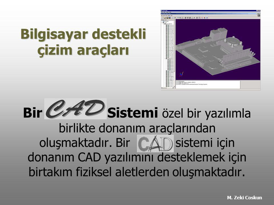 Bilgisayar destekli çizim araçları Bir Sistemi özel bir yazılımla birlikte donanım araçlarından oluşmaktadır.