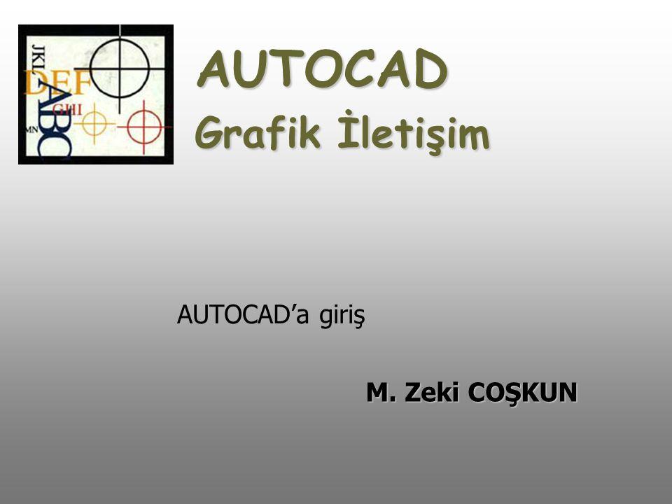 AUTOCAD Grafik İletişim M. Zeki COŞKUN AUTOCAD'a giriş