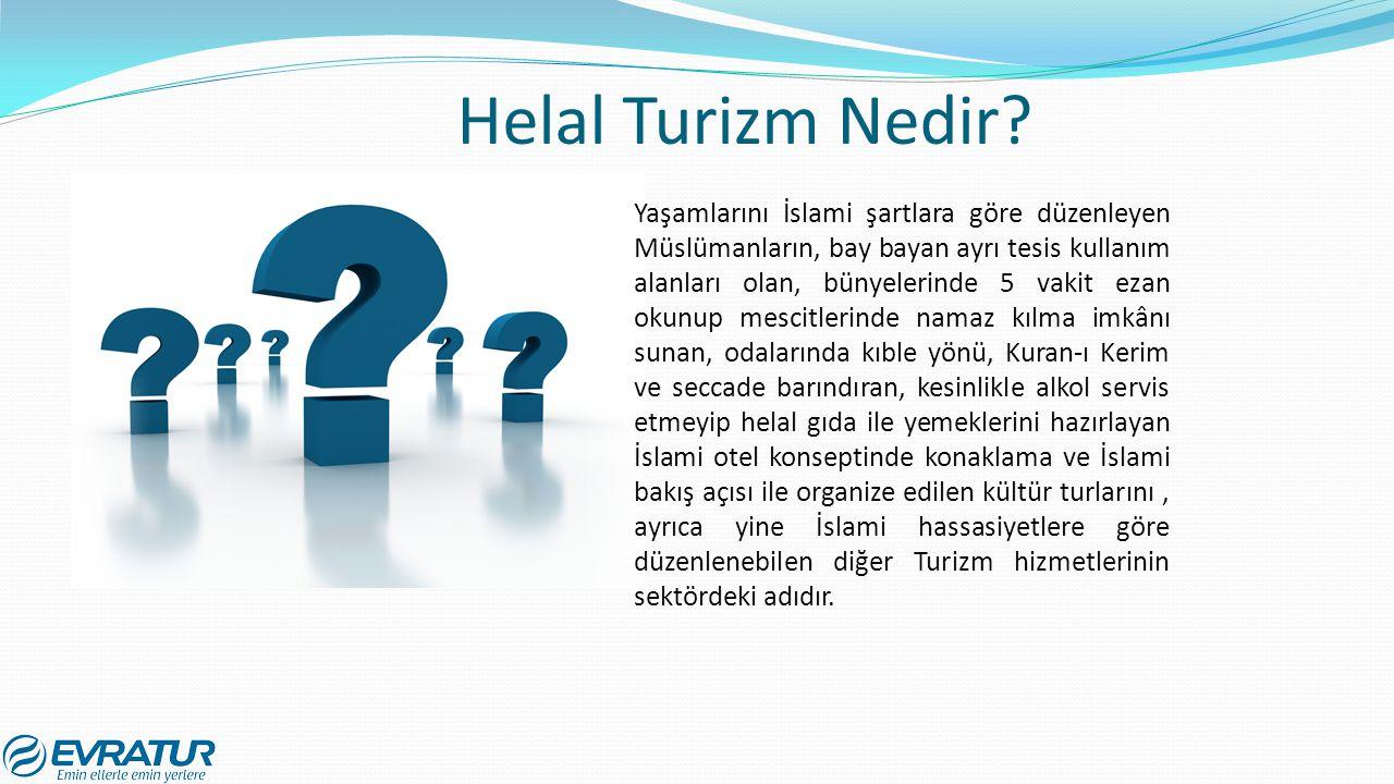 Helal Turizm Nedir? Yaşamlarını İslami şartlara göre düzenleyen Müslümanların, bay bayan ayrı tesis kullanım alanları olan, bünyelerinde 5 vakit ezan