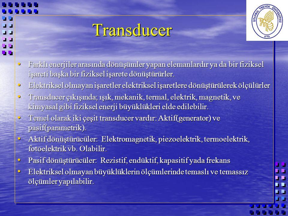 Transducer Değişik fiziksel büyüklükler arasındaki dönüşümlerin yapılması Transducer Değişik fiziksel büyüklükler arasındaki dönüşümlerin yapılması ÇIKIŞ► GİRİŞ▼IŞIKMEKANİKTERMİKELEKTRİKMAGNETİKKİMYASAL IŞIKFİLTREFOTODİYOT MEKANİK DİŞLİ KUTUSU PİEZO KRİSTAL TERMİK SICAKLIK DEĞİŞTİRİCİ ELEKTRİKLED PİEZO KRİSTAL TRANSİSTÖRBOBİN ELEKTROD - ELEKTROLİTİK MAGNETİK MAGNETİK DİRENÇ MAGNETİK DEVRE KİMYASALPH-METRE