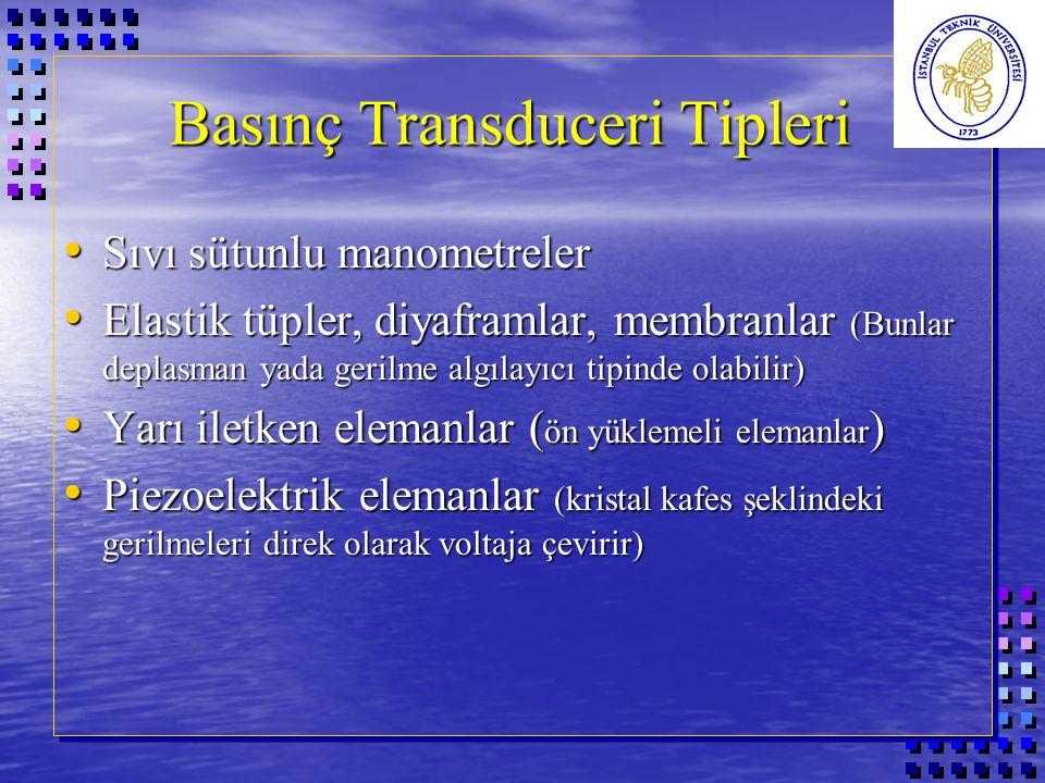 Basınç Transduceri Tipleri Sıvı sütunlu manometreler Sıvı sütunlu manometreler Elastik tüpler, diyaframlar, membranlar (Bunlar deplasman yada gerilme