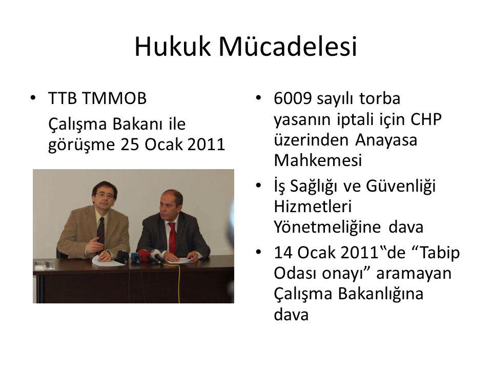 Hukuk Mücadelesi TTB TMMOB Çalışma Bakanı ile görüşme 25 Ocak 2011 6009 sayılı torba yasanın iptali için CHP üzerinden Anayasa Mahkemesi İş Sağlığı ve