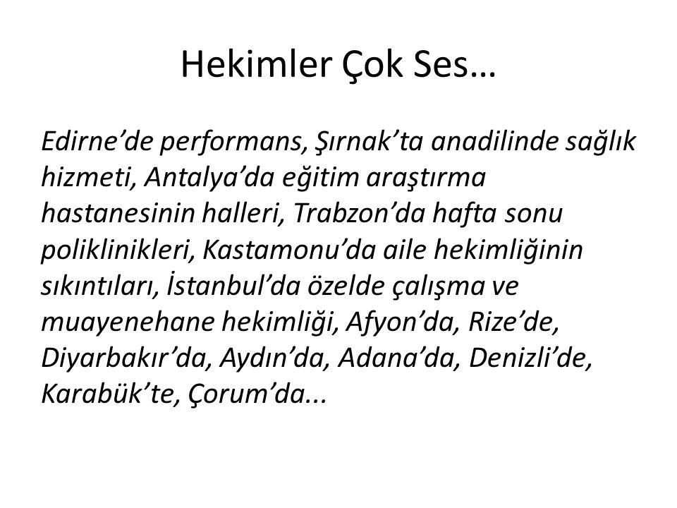 Hekimler Çok Ses… Edirne'de performans, Şırnak'ta anadilinde sağlık hizmeti, Antalya'da eğitim araştırma hastanesinin halleri, Trabzon'da hafta sonu p