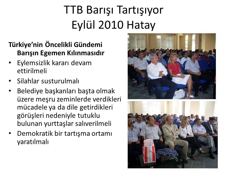 TTB Barışı Tartışıyor Eylül 2010 Hatay Türkiye'nin Öncelikli Gündemi Barışın Egemen Kılınmasıdır Eylemsizlik kararı devam ettirilmeli Silahlar susturu