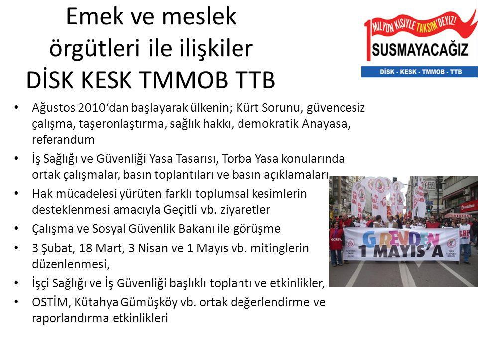 Emek ve meslek örgütleri ile ilişkiler DİSK KESK TMMOB TTB Ağustos 2010'dan başlayarak ülkenin; Kürt Sorunu, güvencesiz çalışma, taşeronlaştırma, sağl