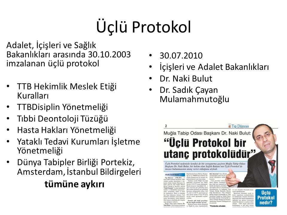 Üçlü Protokol Adalet, İçişleri ve Sağlık Bakanlıkları arasında 30.10.2003 imzalanan üçlü protokol TTB Hekimlik Meslek Etiği Kuralları TTBDisiplin Yöne