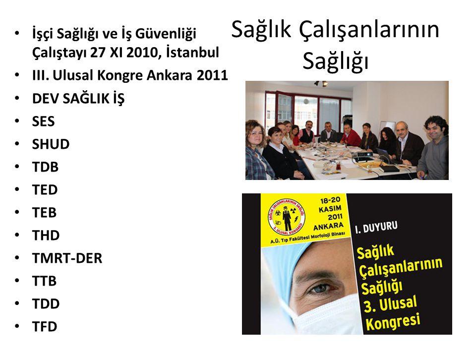 Sağlık Çalışanlarının Sağlığı İşçi Sağlığı ve İş Güvenliği Çalıştayı 27 XI 2010, İstanbul III. Ulusal Kongre Ankara 2011 DEV SAĞLIK İŞ SES SHUD TDB TE
